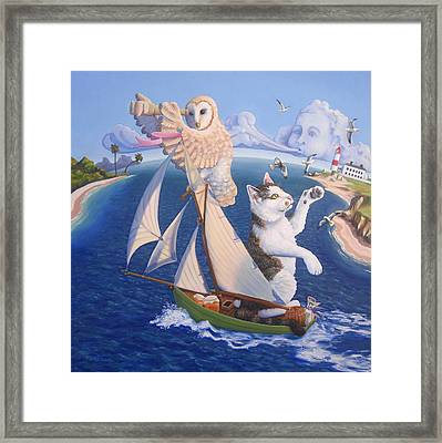 The Owl And The Pussycat Framed Print by James Derieg