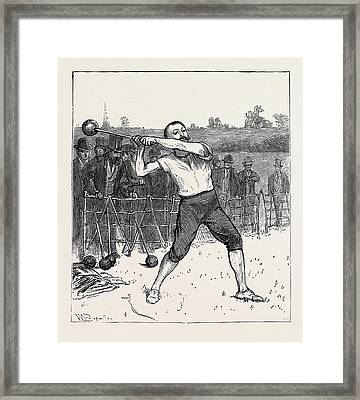 The Oxford And Cambridge Athletic Sports Throwing The Hammer Framed Print