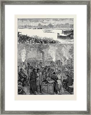 The Oxford And Cambridge Boat Race The Press Boat In A Fog Framed Print