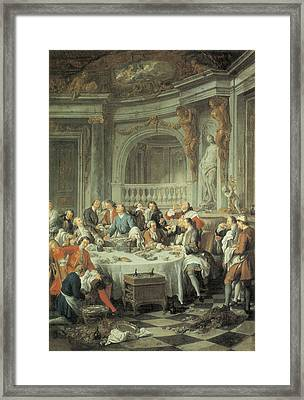 The Oyster Lunch Framed Print by Jean-Francois De Troy