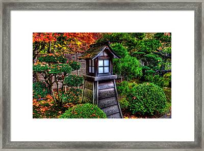 Framed Print featuring the photograph The Pagoda At The Japanese Gardens by Thom Zehrfeld