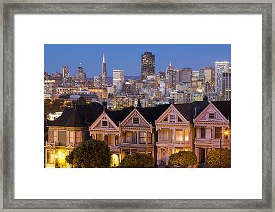 The Painted Ladies And San Francisco Skyline Framed Print by Adam Romanowicz