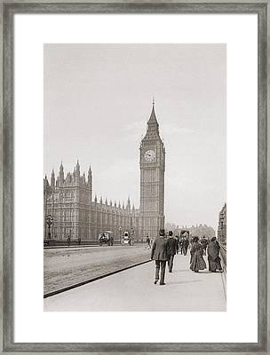 The Palace Of Westminster, Aka The Houses Of Parliament Or Westminster Palace, London, England Framed Print by English School