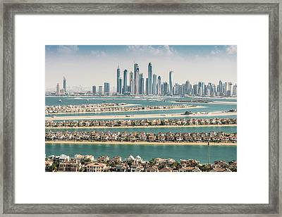 The Palm Jumeirah In Dubai With Skyline Framed Print by Franckreporter