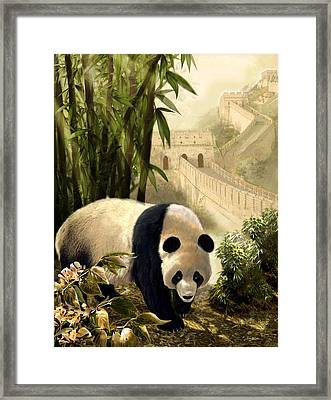 The Panda Bear And The Great Wall Of China Framed Print