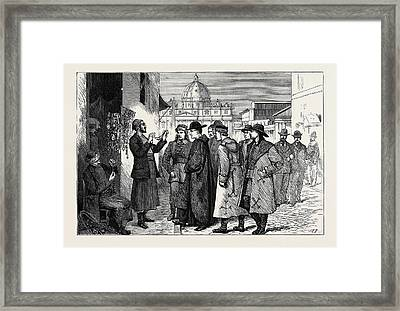 The Papal Jubilee At Rome, Pilgrims Buying Rosaries Framed Print by English School