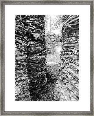 The Paper Crevasse Monochrome Framed Print