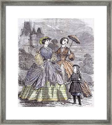 The Paris Fashions For June Child 1860  Parasol Full Framed Print by English School
