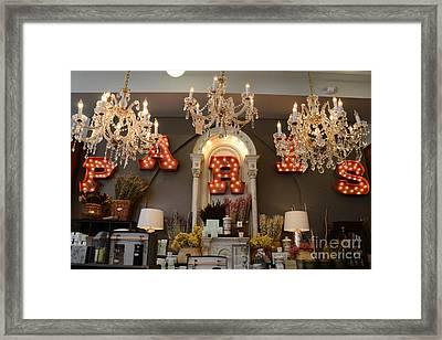 The Paris Market - Savannah Georgia Paris Market - Paris Macaron Shop - Parisian Chandelier Art Shop Framed Print by Kathy Fornal