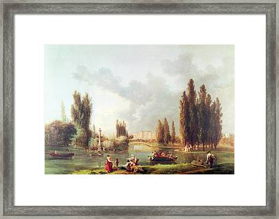 The Park And Chateau At Mereville Oil On Canvas Framed Print