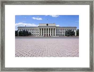 The Parliament Buildings In Bishkek Kyrgyzstan Framed Print by Robert Preston