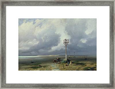 The Passage Du Gois At Noirmoutier, 1859 Oil On Canvas Framed Print