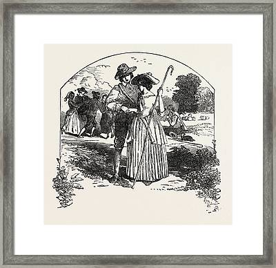 The Passionate Shepherd To His Love Book Of English Songs Framed Print by English School