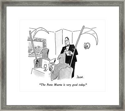 The Pasta Muerta Is Very Good Today Framed Print by Jack Ziegle