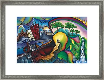 The Path Between City And Country Framed Print by Tiffany Davis-Rustam