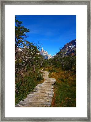 The Path To Mountains Framed Print by FireFlux Studios