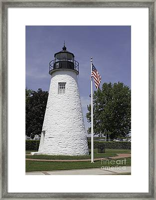 The Patriotic Lighthouse At Concord Point Framed Print by Arlene Carmel