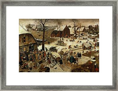 The Payment Of The Tithe Or The Census At Bethlehem Oil On Panel For Detail See 89722 Framed Print by Pieter the Younger Brueghel