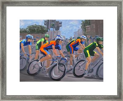 Framed Print featuring the painting The Peloton by Karen Ilari