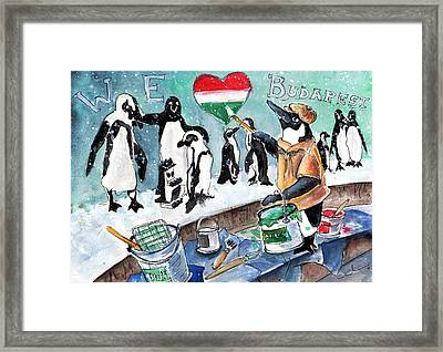 The Penguins From Budapest Framed Print by Miki De Goodaboom