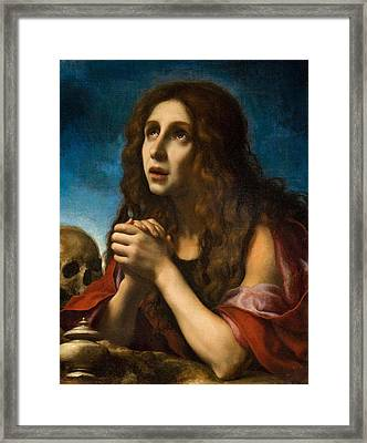 The Penitent Magdalen Framed Print by Carlo Dolci