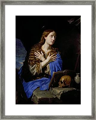 The Penitent Magdalene, 1657 Oil On Canvas Framed Print by Philippe de Champaigne