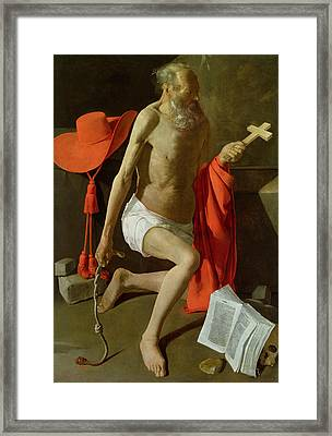 The Penitent St Jerome  Framed Print by Georges de la Tour