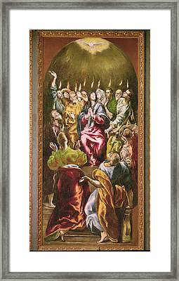The Pentecost, C.1604-14 Oil On Canvas Framed Print by El Greco
