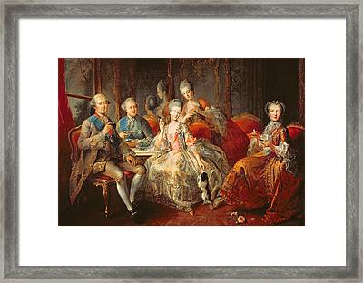 The Penthievre Family Or The Cup Of Chocolate, 1768 Oil On Canvas Framed Print by Jean Baptiste Charpentier