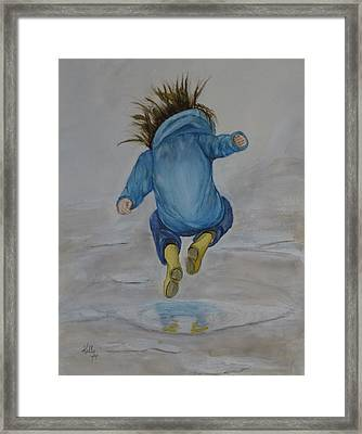 The Perfect Puddle... Jump Framed Print