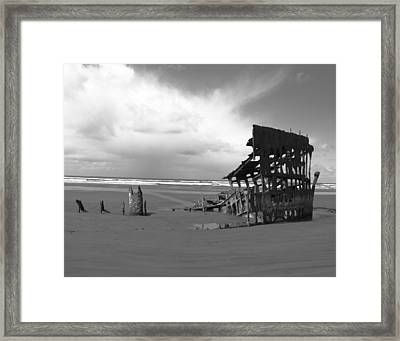 The Peter Iredale Shipwreck Black And White Framed Print