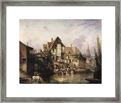 The Petits Murs Wash-house Oil On Canvas Framed Print by Victor Theophile Tesniere