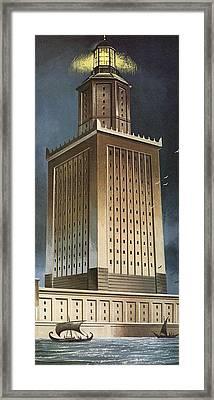 The Pharos Lighthouse Colour Litho Framed Print