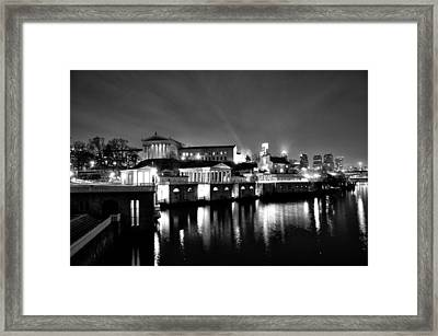 The Philadelphia Waterworks In Black And White Framed Print by Bill Cannon