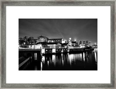 The Philadelphia Waterworks In Black And White Framed Print