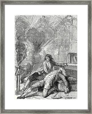 The Physicist Richmann Is Struck In His Physics Labaratory Framed Print by English School