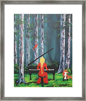 The Pianist In The Woods Framed Print