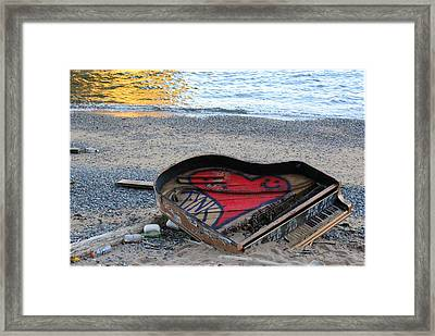 The Piano In New York Harbor Framed Print by Dora Sofia Caputo Photographic Art and Design