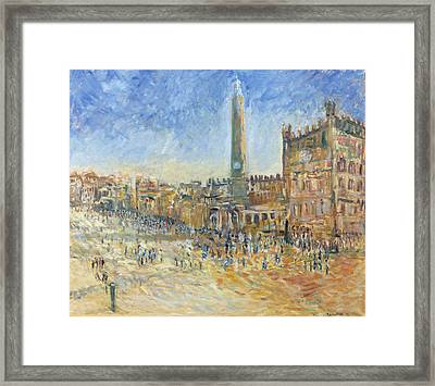 The Piazza In Siena, 1995 Oil On Canvas Framed Print by Patricia Espir