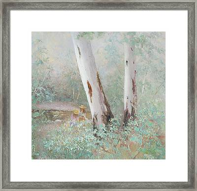 The Picnic By The Stream Framed Print by Jan Matson