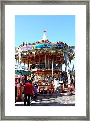 The Pier 39 Carousel And Performers San Francisco California 5d26120 Framed Print by Wingsdomain Art and Photography