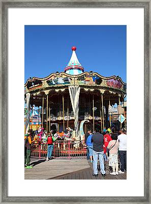 The Pier 39 Carousel And Performers San Francisco California 5d26124 Framed Print by Wingsdomain Art and Photography