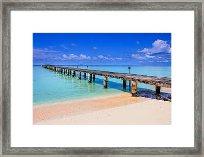 The Pier Into The Blue Heaven Framed Print by Jenny Rainbow