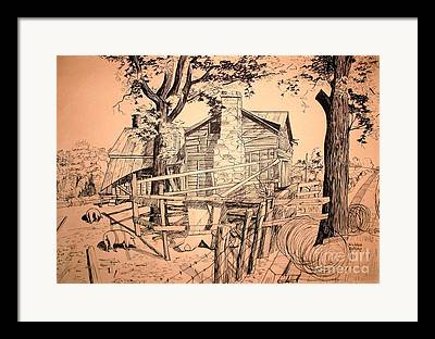 Old Barn Pen And Ink Framed Prints