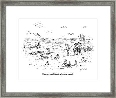 The Pilgrims Arrive At A Native American Beach Framed Print