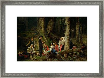 The Pilgrims From The Abbey Of St. Odile Oil On Canvas Framed Print by Gustave Brion