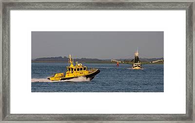 The Pilot And The Shrimp Boat Predator Framed Print