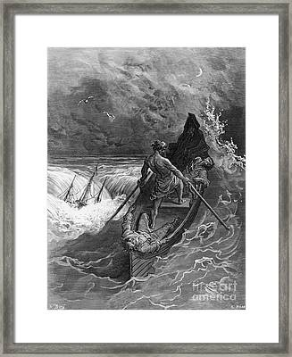 The Pilot Faints Scene From 'the Rime Of The Ancient Mariner' By S.t. Coleridge Framed Print by Gustave Dore