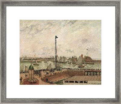 The Pilot's Jetty Le Harve Mornig Grey Weather Misty Framed Print by Camille Pissarro