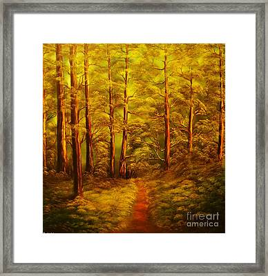 The Pine Tree Forest-original Sold-buy Giclee Print Nr 34 Of Limited Edition Of 40 Prints  Framed Print by Eddie Michael Beck
